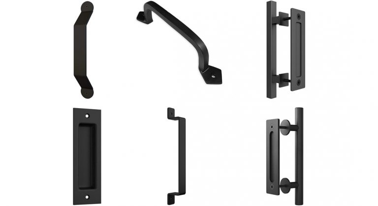 various black barn door handles