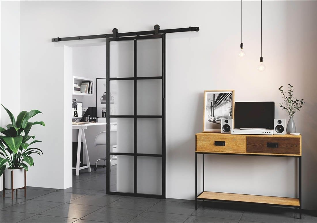 Grid Barn Door matte black