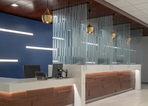 Custom etched glass dividers at the University of Chicaggo Medicine
