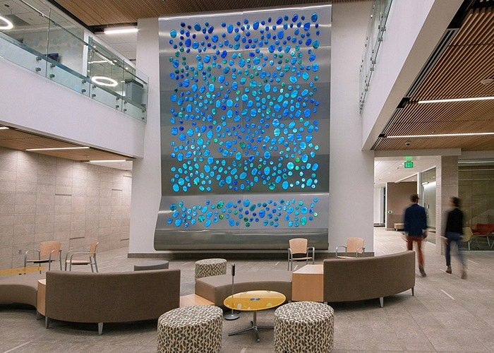 ImageVue custom printed glass orb wall for Surface Tension project