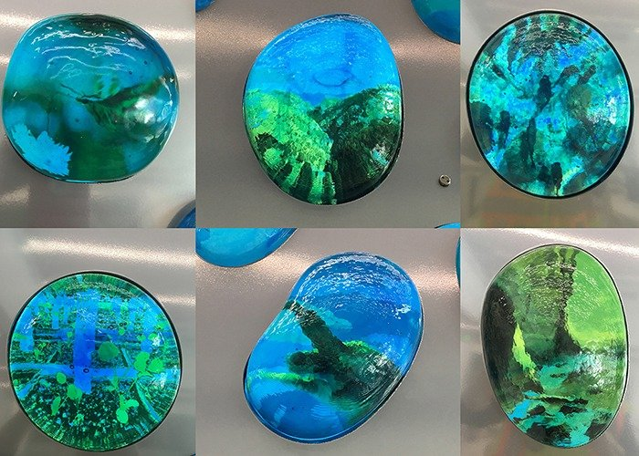ImageVue printed glass on custom glass orbs for Surface Tension project