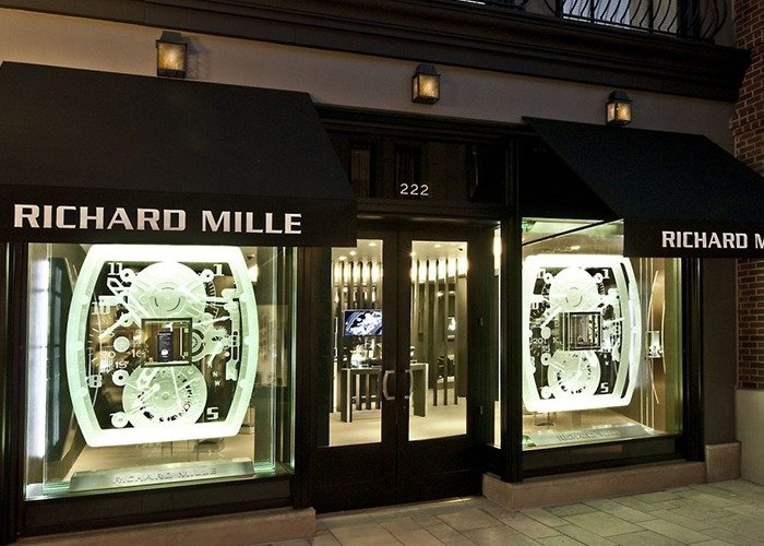 Richard Mille Storefront with carved LED edge lit glass panels