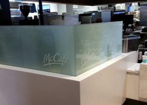 Custom etched and laminated for McDonald's McCafe