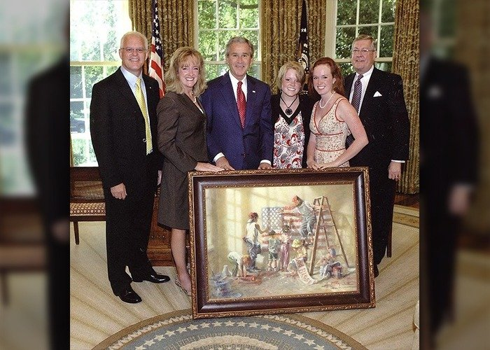 Dream Keepers Lamianted Glass Memorial with George Bush