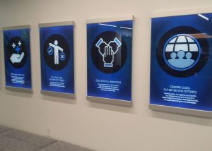 Printed and LED Edge lit glass signs for CRH Atlanta