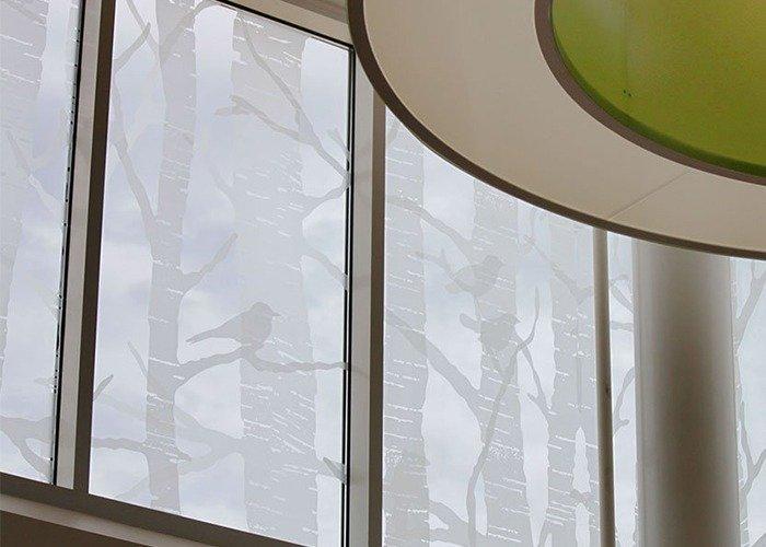 Chick-Fil-A Headquarters etched glass windows