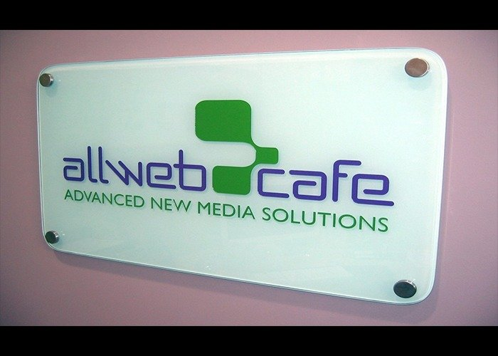 Allweb Cafe Glass Sign Banner