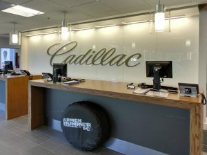 Cadillac back painted glass sign