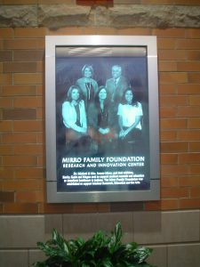 Mirro Family Foundation etched and printed glass sign