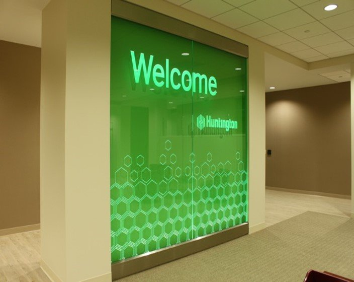 Etched and LED lit glass sign for Huntington