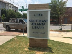 Glass sign in front of Southeast Atlanta Library by FGD Glass