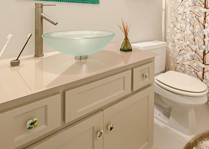 Fresh Concepts Custom Vanity Back Painted Glass Counter Top THUMB