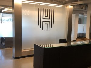 Etched glass partition