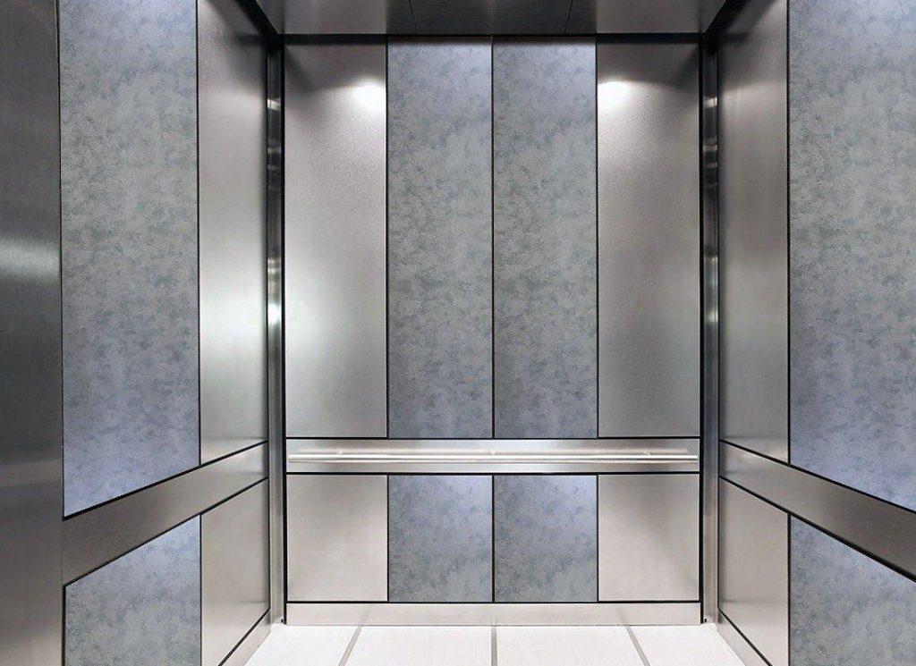 Bright White Antique Mirror Wall Cladding in Elevator